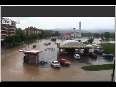 Видео затопления за 5 минут города в Республике Сербской