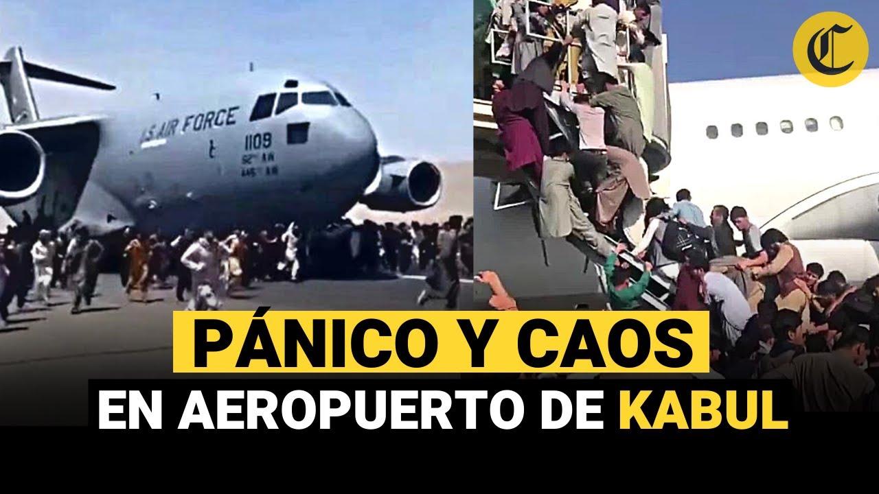 AEROPUERTO DE KABUL: Afganos se suben a un avión en pleno despegue para  huir de los talibanes - YouTube