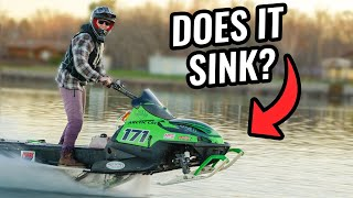 Snowmobile Water Skips Entire Lake!!