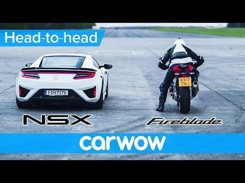Honda (Acura) NSX vs Honda CBR1000RR 2018 DRAG RACE & ROLLING RACE | Which is quicker?