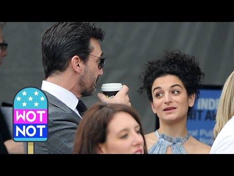 EXCLUSIVE: Jon Hamm Gets A Kiss From Jenny Slate!