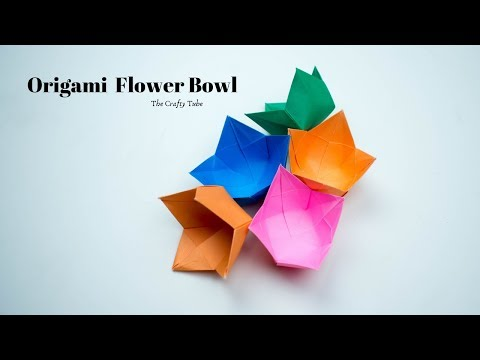 Origami Flower Bowl - How To Make Origami Bowl - Origami bowl making - Paper Craft - DIY