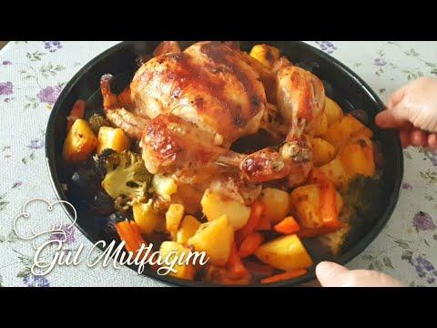 Fırında Soslu Nar Gibi Kızarmış Bütün Tavuk tarifi-Gül Mutfağım