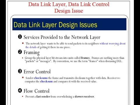 Data Link Layer, Data Link Control, Design Issue