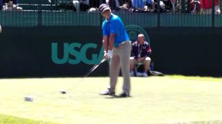 Andy Zhang attempts to drive the Green on Par 4 Hole 7 at the US Open