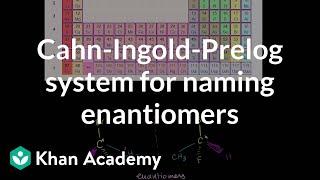 Cahn-Ingold-Prelog System for Naming Enantiomers(Cahn-Ingold-Prelog System for Naming Enantiomers More free lessons at: http://www.khanacademy.org/video?v=DfO27juYly8., 2010-07-27T19:05:06.000Z)