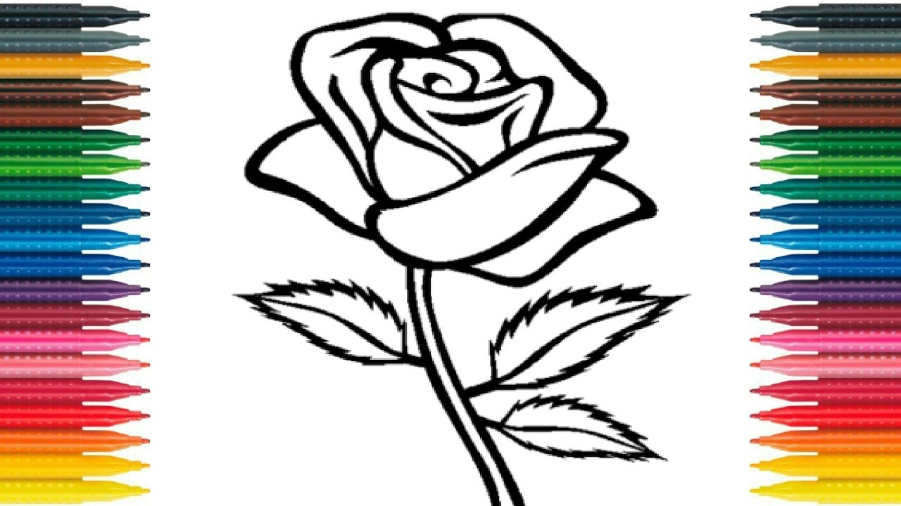 How to draw rose for kids draw rose flower learn colors with how to draw rose for kids draw rose flower learn colors with flower coloring page rose ccuart Image collections