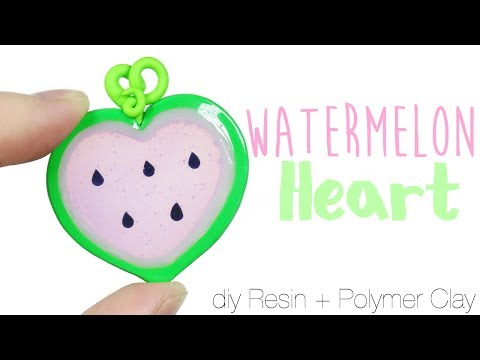 How to DIY Watermelon Heart Bezel Polymer Clay/Resin Tutorial (Valentine's Collab)