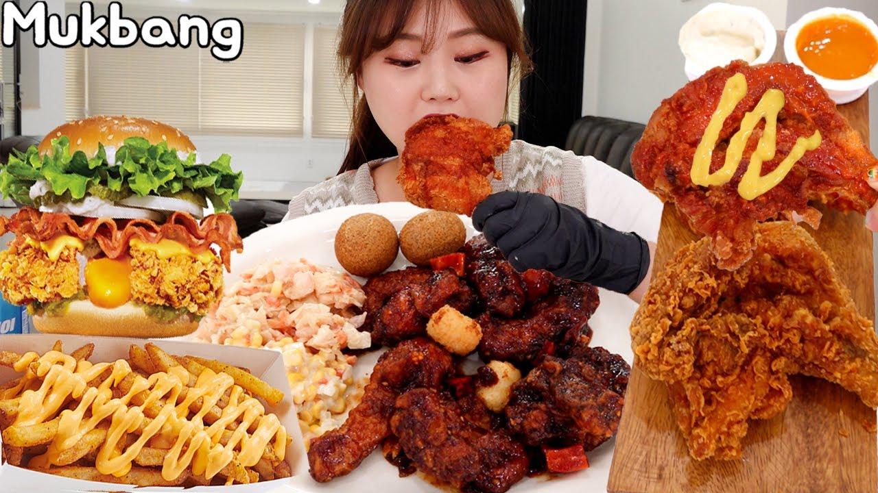 맘스터치 신메뉴 🧀치즈홀릭버거, 블랙쏘이치킨, 후라이드, 내슈빌 핫 통다리, 필굿 먹방 Mukbang