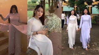 #91: Nữ sinh và áo dài trắng   xinh đẹp   tinh nghịch   Tik Tok.