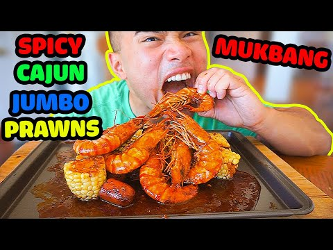 How to make SPICY Cajun Jumbo Prawns boil | RECIPE | MUKBANG