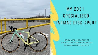 2021 Specialized Tarmac SL6 Disc Sport With Schwalbe Pro One TT Tubeless Tires Tan Wall