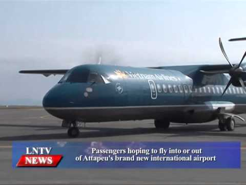 Lao NEWs on LNTV: Passengers hoping to fly into or out of Attapeu's brand new airport.16/6/2015