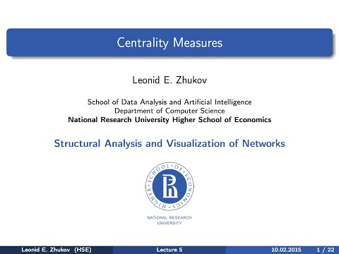 Network Analysis. Lecture 5. Centrality measures.
