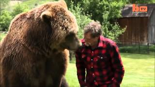 Медведь дикие животное и человек друзья