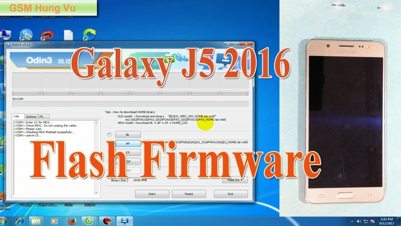 Flash firmware Samsung Galaxy j5 2016 by Odin3 - YouTube