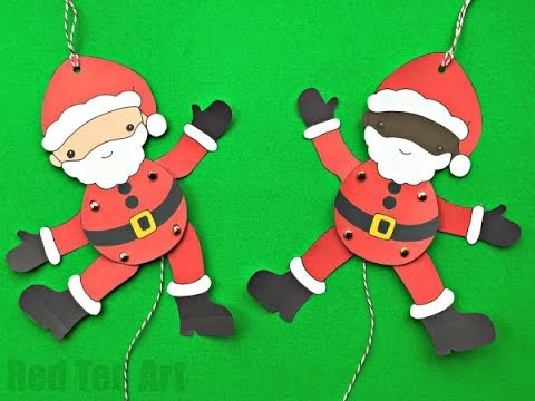 Easy Santa Paper Puppet DIY - Free Paper Puppet Template   Paper Santa Decor