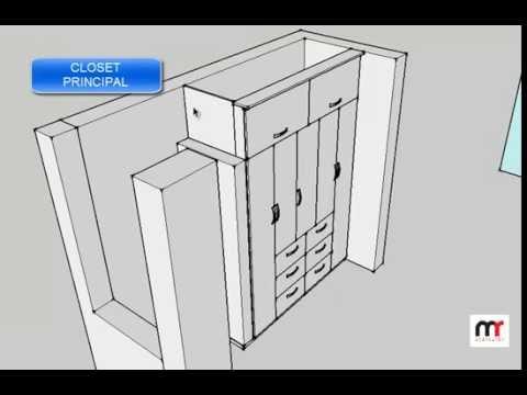 Cuatro modelos de closets empotrados melamina de 18 mm for Modelos de closets