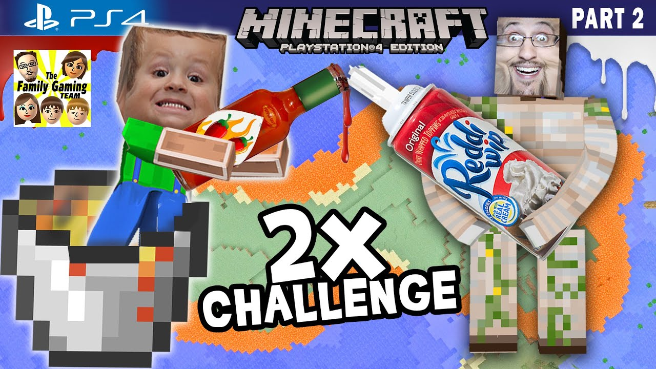 Minecraft Hot Sauce & Whipped Cream Challenge + Lava Island Golems (FGTEEV PS4 Part 2 Gameplay)