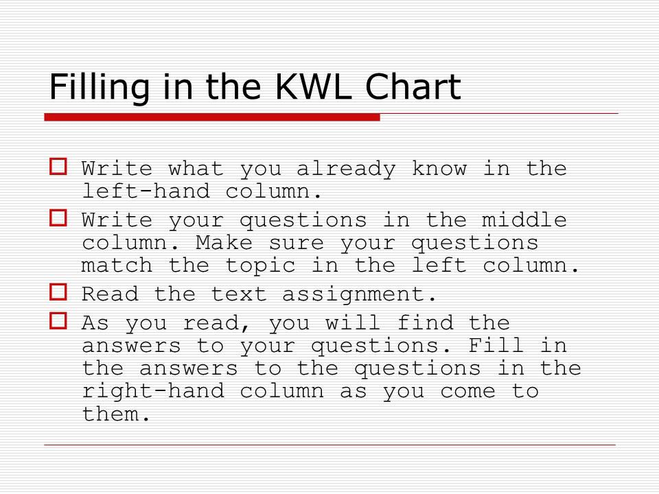Kwl Charts Defining Creating Revising