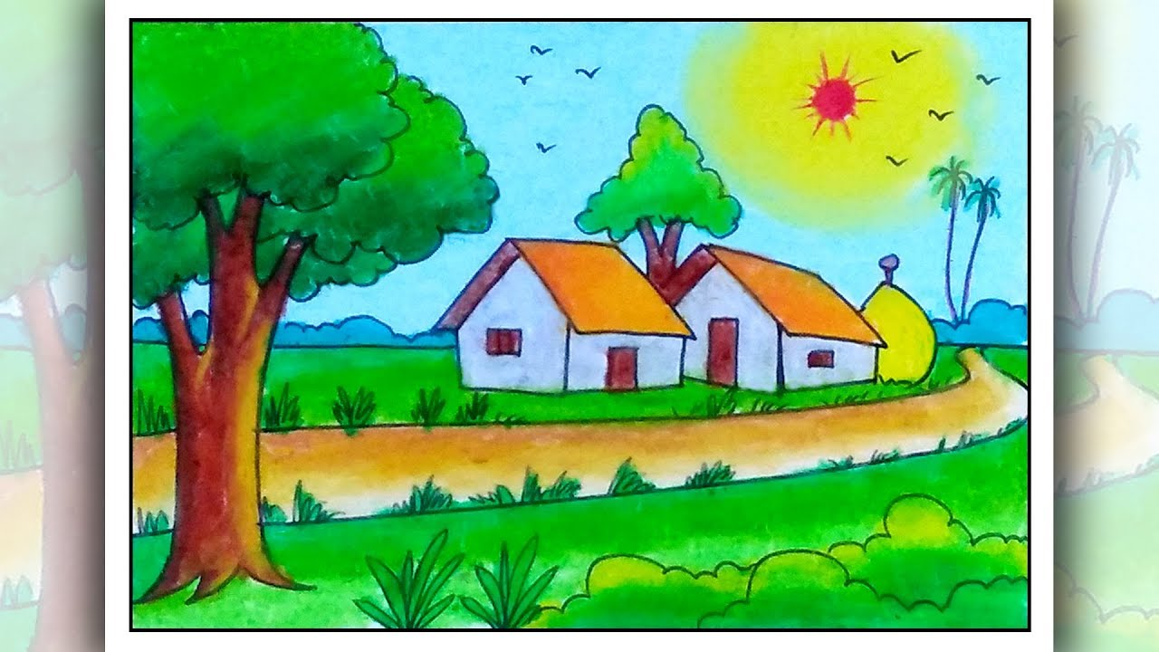 How To Draw Simple Scenery For Beginners Easy Village Scenery Drawing Youtube