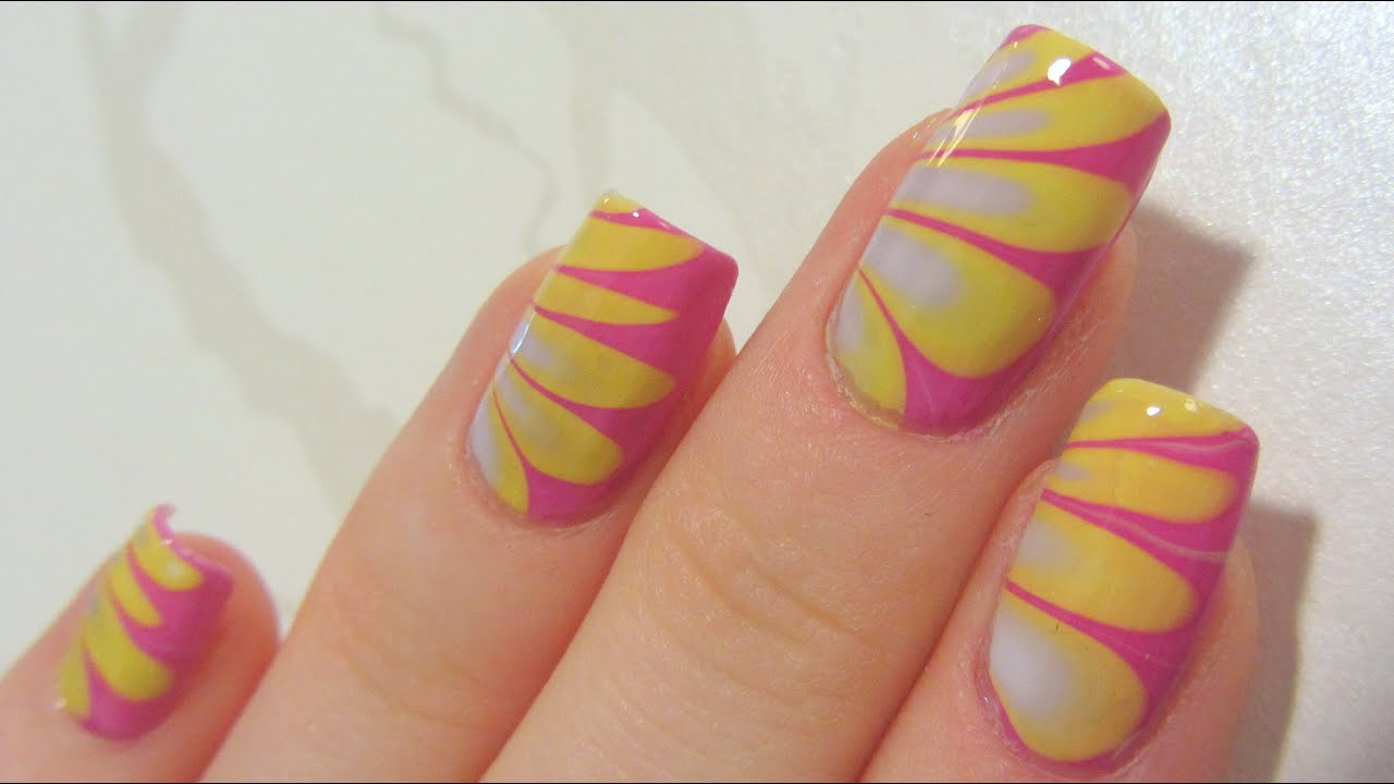 Summery Pastel Water Marble with Dark Pink, Lime Yellow & Lavender ...