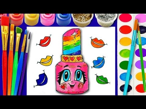 Lip  Lipstick Coloring Page for Children to Learn to Color for Girls Makeup Hand Watercolor Paint