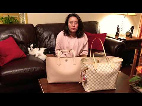 LV Neverfull mm & Tory Burch Brody Tote comparison and bag switch