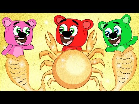 Mega Gummy Bear Family Turns Into Crab While Swimming Funny Full Episodes Cartoon Animation