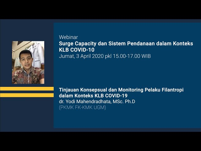 Webinar Surge Capacity Tinjauan Konsepsual & Monitoring Pelaku Filantropi dalam Konteks KLB COVID 19