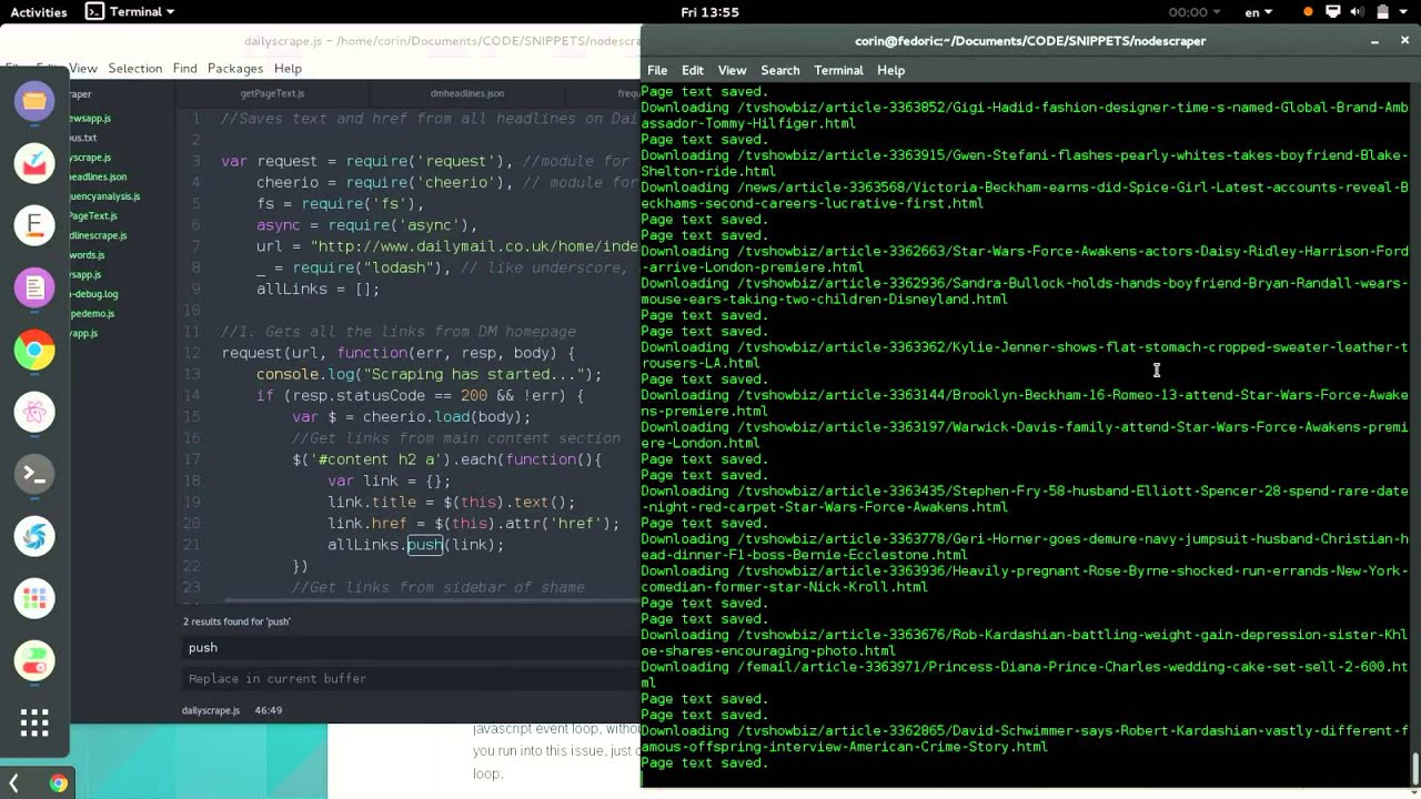 DailyScrape: a web scraper with node js