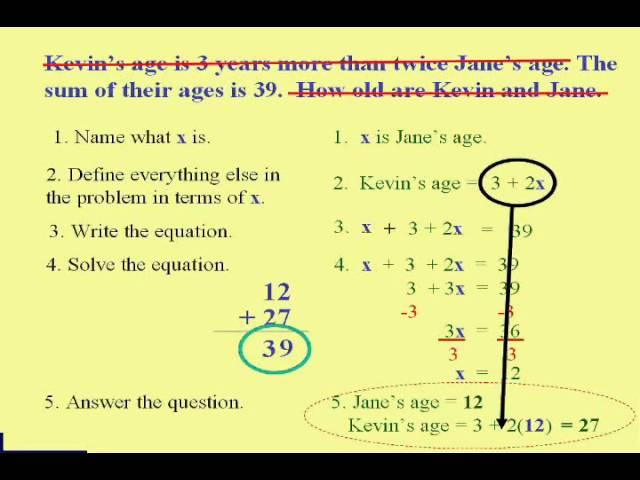 solve word problems algebra