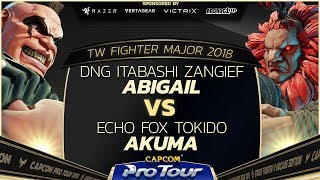 DNG Itabashi Zangief vs Echo Fox Tokido - TW FIghter Major 2018 Top 8 - SFV - CPT 2018