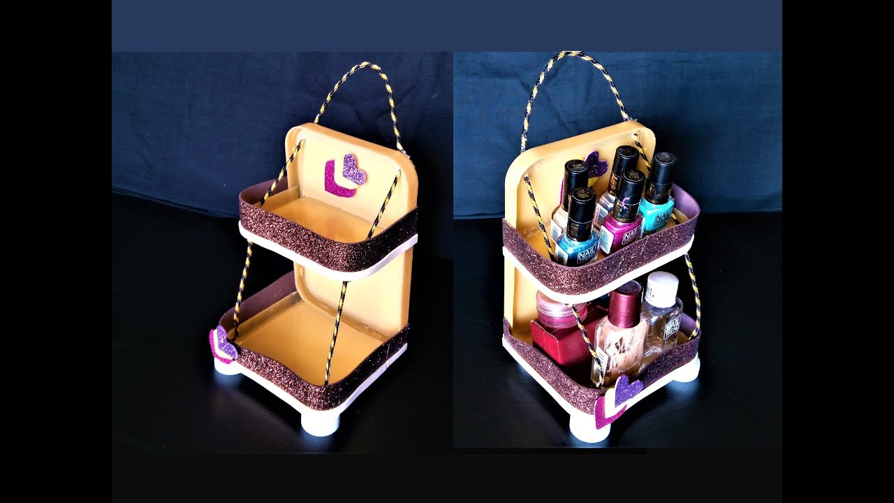 Image result for Rack From Sweet Box Lid / Sweet Box Reuse Ideas / DIY Chocolate Box Organizer / Best Out Of Waste