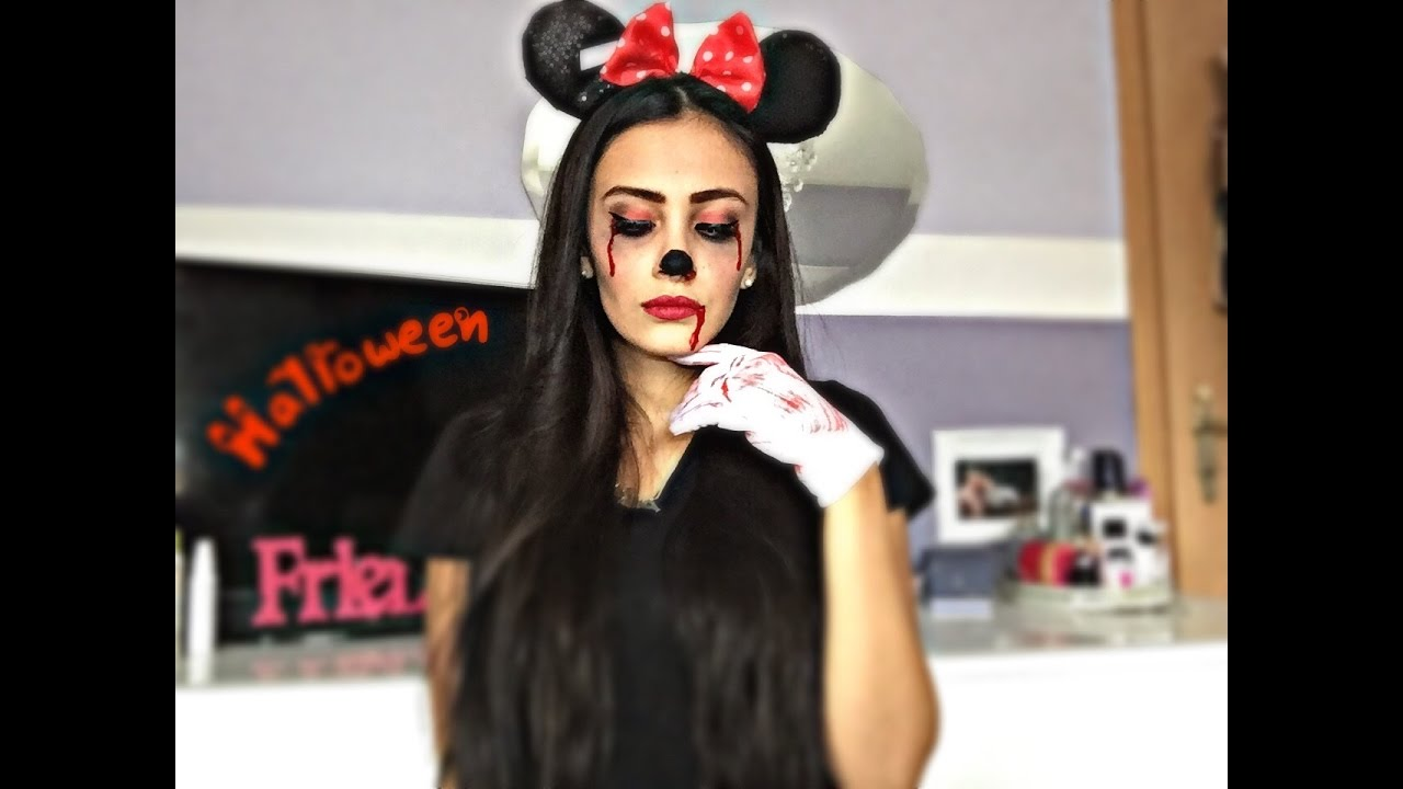 Last Minute Halloween Make Up Minnie Mouse 🎃 Youtube