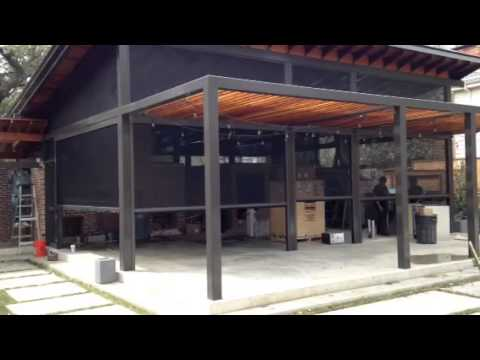 Roll A Way Shade Houston Commercial Install   Sun Shade Patio, Windows    YouTube