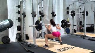 Erin Stern practices sumo squats