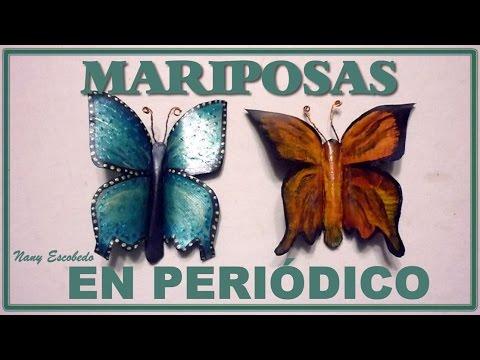 Mariposas en papel peri dico youtube - Manualidades con papel periodico ...