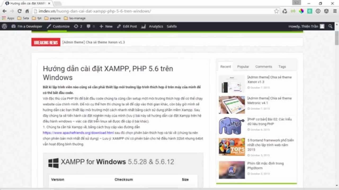 [imdev.vn] - [php cơ bản] Hướng dẫn cài xampp, php 5.6 trên windows