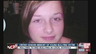 Crowd gathers to honor the memory of young bullying victim