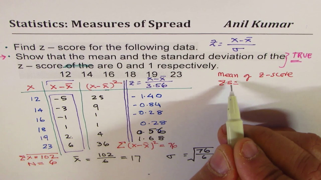 Calculate Z Score and show that its mean and standard deviation is 26 and 26  respectively