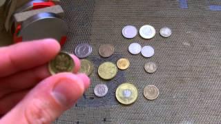 Jak działa magnes neodymowy na monety, neodymium magnet and coins