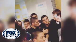 Khabib Nurmagomedov mobbed by fans in Moscow