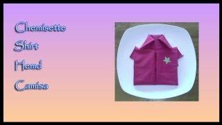 Pliages de serviettes, napkin folding : Chemisette, Shirt, Hemd, Camisa