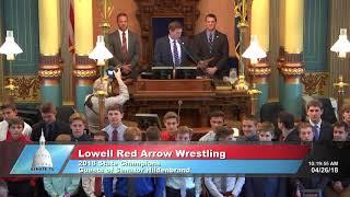 Sen. Hildenbrand recognizes the Lowell Red Arrow Wrestling team
