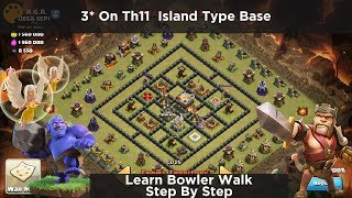 New bowler walk th11 attack in square island type base design | 3 Star Plan in Hindi