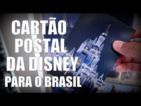 Enviando cartão postal de dentro da Disney direto para o Brasil