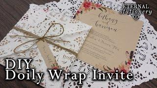 How to make a doily wrap/doily envelope invitation | DIY invitations