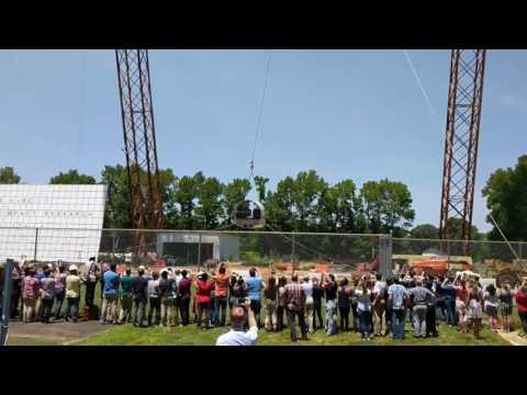 Aircraft fuselage drop test at NASA Langley Research Center.