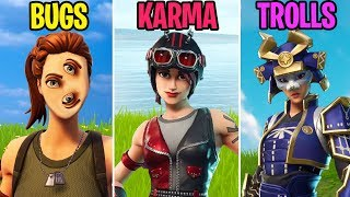NEW SKINS Datamined! BUGS vs KARMA vs TROLLS - Fortnite Funny Moments (Battle Royale)